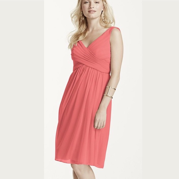 vast selection official site promo codes David's Bridal Coral Reef Short Bridesmaid Dress